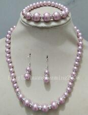 8-12MM Pink Purple South Sea Shell Pearl Beads Necklace Bracelet Earring Set