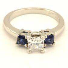 Platinum 5mm princess cut CZ natural blue sapphire three stone engagement ring