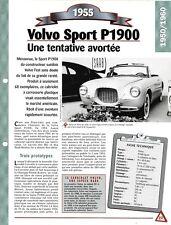 VOITURE VOLVO SPORT P1900 FICHE TECHNIQUE AUTOMOBILE 1955 COLLECTION CAR