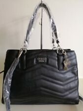 Guess stitches black large satchel bag shoulder bag + long shoulder strap