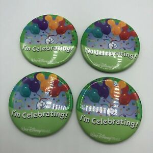 Lot 4 Walt Disney World I'm Celebrating Button Pin Badges Mickey Balloons Green