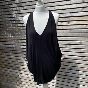 Marc Cain Black Silk / Viscose Blend Oversize Longline Vest Top Size N3 / UK 12
