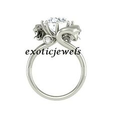 2.50 Ct White Solitaire Moissanite Two Dragon Snake Engagement RIng 925 Silver