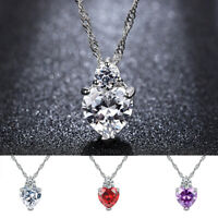 1Pc Women Stylish Luxury Heart Shape Alloy Chain Necklace Crystal Zircon Pendant