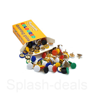 100 x Assorted Drawing Pins Strong - Multi Colour Thumb Tacks - 9.5mm Boxed