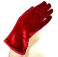 GUANTI donna rossi velluto invernali bottoni eleganti caldi gloves handskar G10