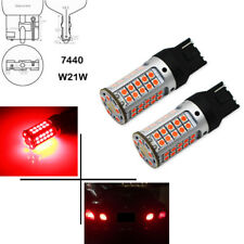 2pcs No Resistor Required Red LED Front Rear Turn Signal Lights Bulbs 7440 3535