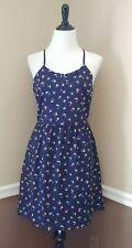 Nautical Navy Blue Sundress M Sailboat Novelty Print Dress Modcloth Mast Times