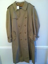 Burberrys men's size 46 khaki trench line raincoat belt long used pre-owned