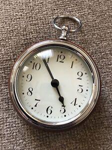 "Pottery Barn Pocket watch Clock table decor 4"" diam. Chrome brown leather"