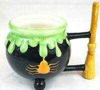 Halloween Cauldron Black Green Coffee Mug W/ Witch Broom