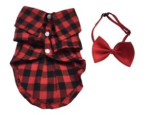 Dog Plaid Shirt Pet Tuxedo Shirt with Bowtie Small Dogs Clothes for Wedding