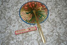 Lovely~ Vintage Midget Folding Paper Fan ~ Keep Cool And Be Gay Box, Hong Kong