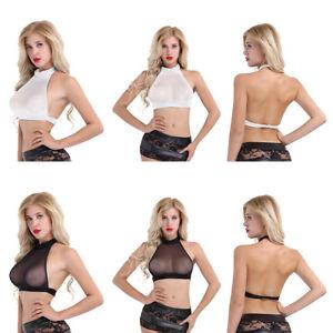 Woman Short Shirt Sexy Mesh Sheer Halter Crop Tops Tank Blouse Cami Bra Vest