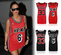 Womens Ladies Heat Bulls Print Basketball Jersey Vest Top Varsity Tulisa Celeb