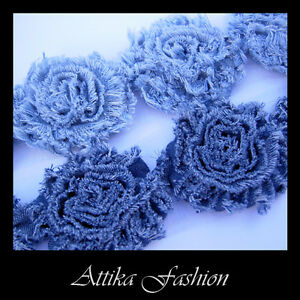 Floral DENIM FABRIC TRIM Jeans Decoration Hairband × 1y 14 Large Flowers