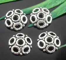 Free Ship 100Pcs Tibetan Silver Flower Bead Caps Findings 8x2mm