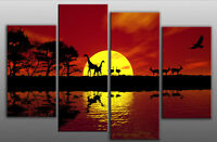 Extra Large Sunset Sea Seascape Canvas 5ft wide multi 4 panel mounted ready2hang