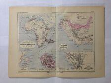 GRAVURE FRANCE ILLUSTREE DEPARTEMENT COLONIES AFRIQUE 1881 MALTE BRUN MAP