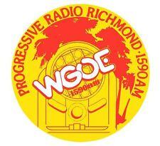 WGOE AM RADIO STATION RICHMOND VA. MUSICAL MEMORABILIA VINYL STICKER DECAL