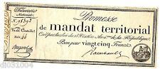 FRANCE MANDAT TERRITORIAL PROMESSE 25 FRANCS 1796 28 VENTÔSE AN 4 BUGAREL
