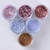 6Boxes/Set 10ml Nail Art Sequins Glitter Powder Sheets Tips  Decoration