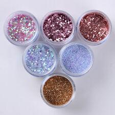 6Boxes/Set 10ml Nail Art Sequins Glitter Powder Sheets Tips Manicure Decoration