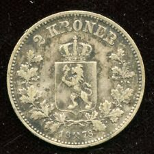 1878 Norway 2 Kroner Silver Coin KM#359