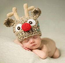 Baby Xmas Christmas Deer Elk Horns Beanie Crochet  Hat Knit Photograph Prop Cap