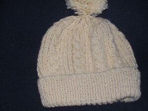 Ladies Hand Knit Pale Lemon Aran Bobble Hat - BNWOT