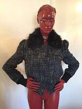 "W118 By Walter Baker ""Michele"" Cobalt Blue Jacket Faux Fur Collar US Wm Sz M"