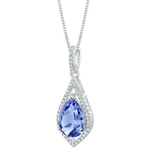 3.5 ct Simulated Violet Tanzanite Gemstone Pendant Necklace Sterling Silver