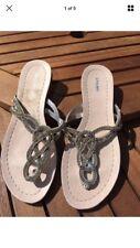Dune Silver Diamante Flip Flops Sandals Size 5