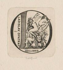 O. VOLKAMER H exlibris Hexe Witch Walpurgisnacht Erotic Nude Copper Engraving C2