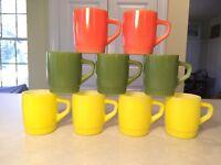 Vintage Set of 9 Anchor-Hocking FIRE-KING Glass Coffee Mugs Yellow Orange Green