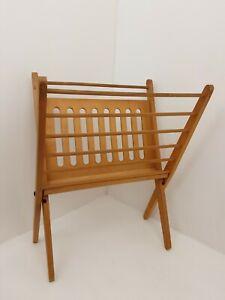 Mid Century Danish Style Teak Wooden Folding Magazine Newspaper Rack