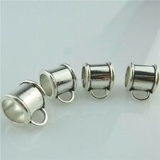 14947 20PCS Alloy Antique Silver Loop Bail Beads 10mm Tube European Bail Beads