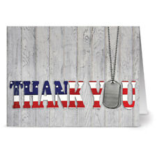 24 Patriotic Note Cards - Thank You for Your Service - Red Envs