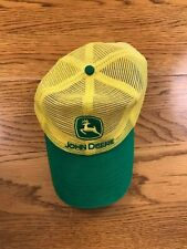 John Deere K Products Snapback Hat Cap Full Mesh Yellow Green Light Wear