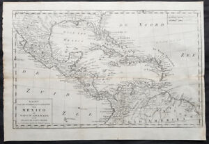 1765 Isaac Tirion Original Antique Map Southern North America, Mexico, Texas GOM
