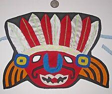 GYPSY BOHO HALLOWEEN MASK MASQUERADE VIVID CLOTH OOAK TRIBAL INDIAN APPLIQUE EUC