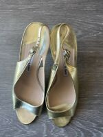 MANOLO BLAHNIK gold evening sandals size 38.5