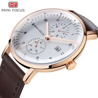 Mens Semi Chronograph Quartz Watch With Date Gold Color Genuine Leather Strap