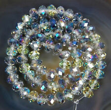 diy 100 (±3) PCS , 4 X 6 mm Multicolor AB Crystal Faceted Abacus Loose Beads