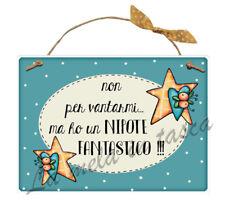 Targa targhetta decorativa country legno per porta con frasi NIPOTE ZII NONNI