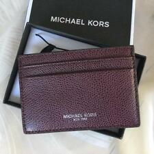 ead0c87fa275 Michael Kors Leather Card Case with Money Clip Warren Raisin New with Gift  Box