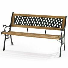 Panchina panca legno e metallo per esterno 122x32 H76 cm arredo giardino