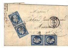 napoléon N°14 A 20 cts bleu 2 paires 1855  LETTRE Dijon Meursault avec courrier
