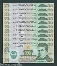 F.C. HONDURAS , 10 UNIDADES 20 LEMPIRAS 2008 , S/C ( UNC ) , P.95 .