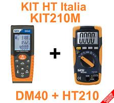 KIT MULTIMETRO DIGITALE MISURA TEMPERATURA + METRO LASER 40MT- KIT210M HT Italia